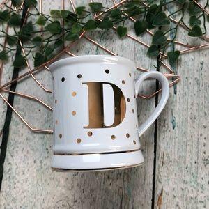 Pier 1 monogram D mug gold polka-dot coffee cup